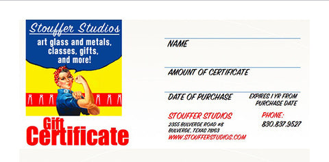 GIFT CERTIFICATES FOR WORKSHOPS! - Stouffer Studios