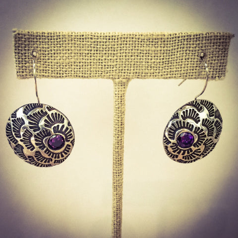 ROSES STERLING SILVER AND AMETHYST EARRINGS - Stouffer Studios