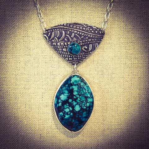 TURQUOISE AND STERLING SILVER NECKLACE - Stouffer Studios