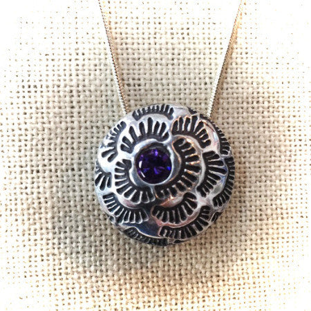 AMETHYST & STERLING HOLLOW BEAD ROSE NECKLACE - Stouffer Studios