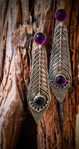 STERLING SILVER METAL CLAY EARRINGS WITH BEZEL SET STONES - Stouffer Studios - 5