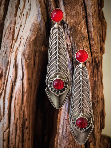 CARNELIAN AND STERLING EARRINGS - Stouffer Studios