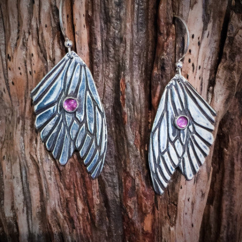 BUTTERFLY WINGS! PINK TOURMALINE AND STERLING EARRINGS - Stouffer Studios