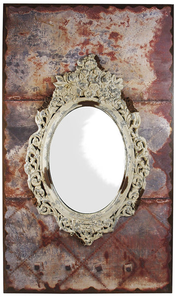 ZENTIQUE Wooden Oval Mirror
