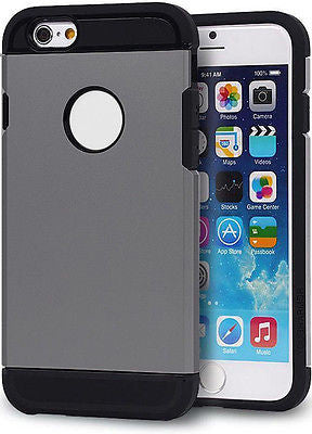"Double Color Slim Hard Armor for iPhone 6 Case (4.7"") BLACK & GREY"