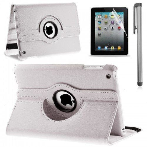 360 Rotating PU Leather Case Cover Stand For iPad 5 Case WHITE
