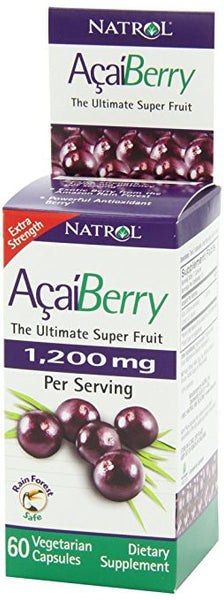 Natrol AcaiBerry 1,200mg Vegetarian Capsules, Extra Strength, 60 Count