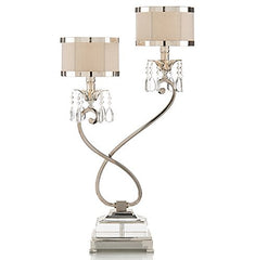 Starlight Hollywood Regency Silver Crystal Double Table Lamp - Right