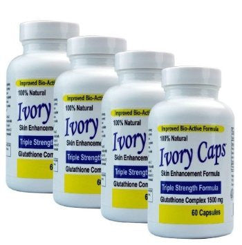 Ivory Caps Skin Lightening Whitening Support Pill 1500 mg Glutathione , preventing darkening of skin pack of 4