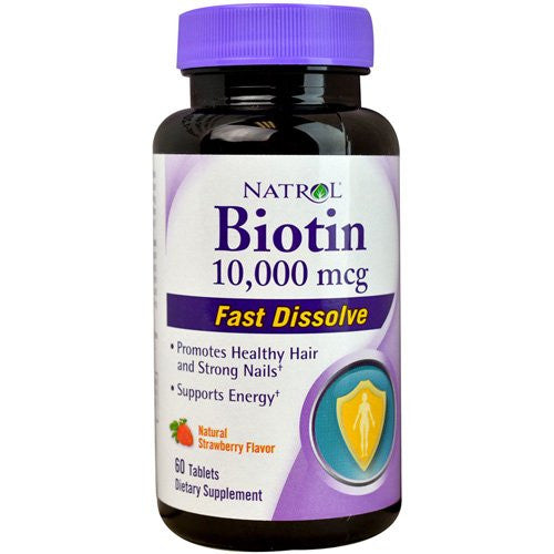2 Packs of Natrol Biotin - Fast Dissolve - Strawberry - 10,000 Mcg - 60 Tablets