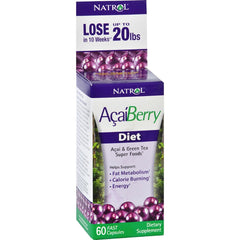 Natrol AcaiBerry Diet - 60 Capsules - Acai and Green Tea Superfoods - Helps Support Fat Metabolism and Energy - Calorie Burning