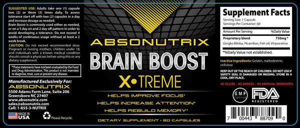 Absonutrix Brain Boost Increase Memory Cognitive Skills Reduce Mood Swings