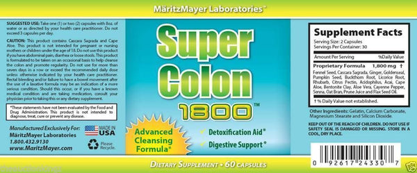 Super Colon Cleanse 1800 Max Strength Detox Maximum Body Cleansing Weight Loss