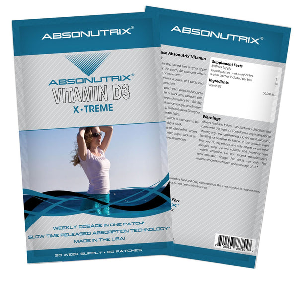 Absonutrix VITAMIN D3 Xtreme 50,000 IU Stronger Bones Muscles Teeth 30 Patches