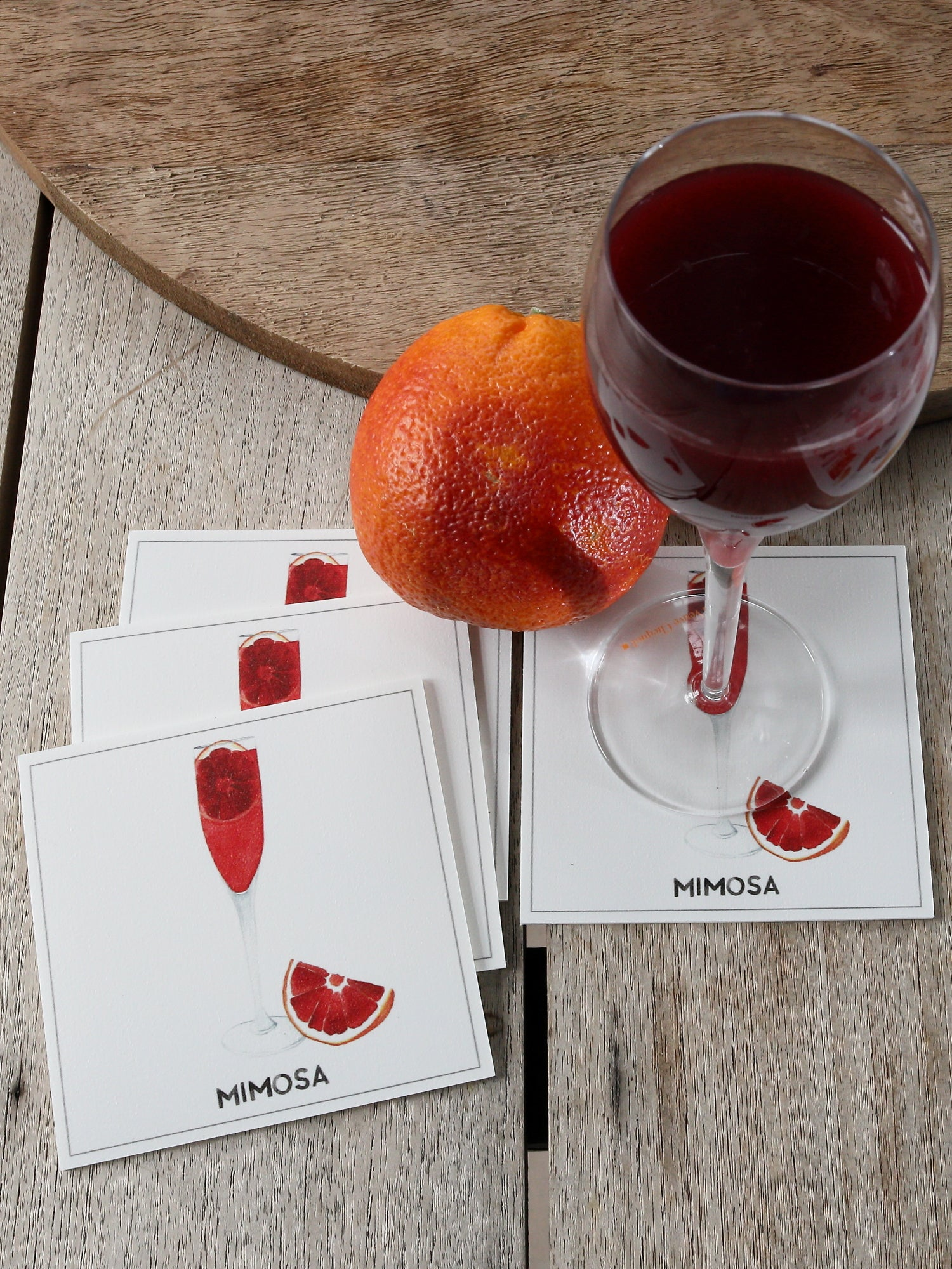 Collection cocktail - Sous-verres de Vinyle (4) / Vinyl Coasters (4) - Cocktail Campari Spritz
