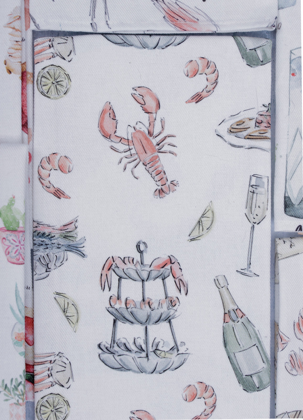"""Fruits de mer et Champagne - Seafood and Champagne"" - Linge de maison / Kitchen Linen"