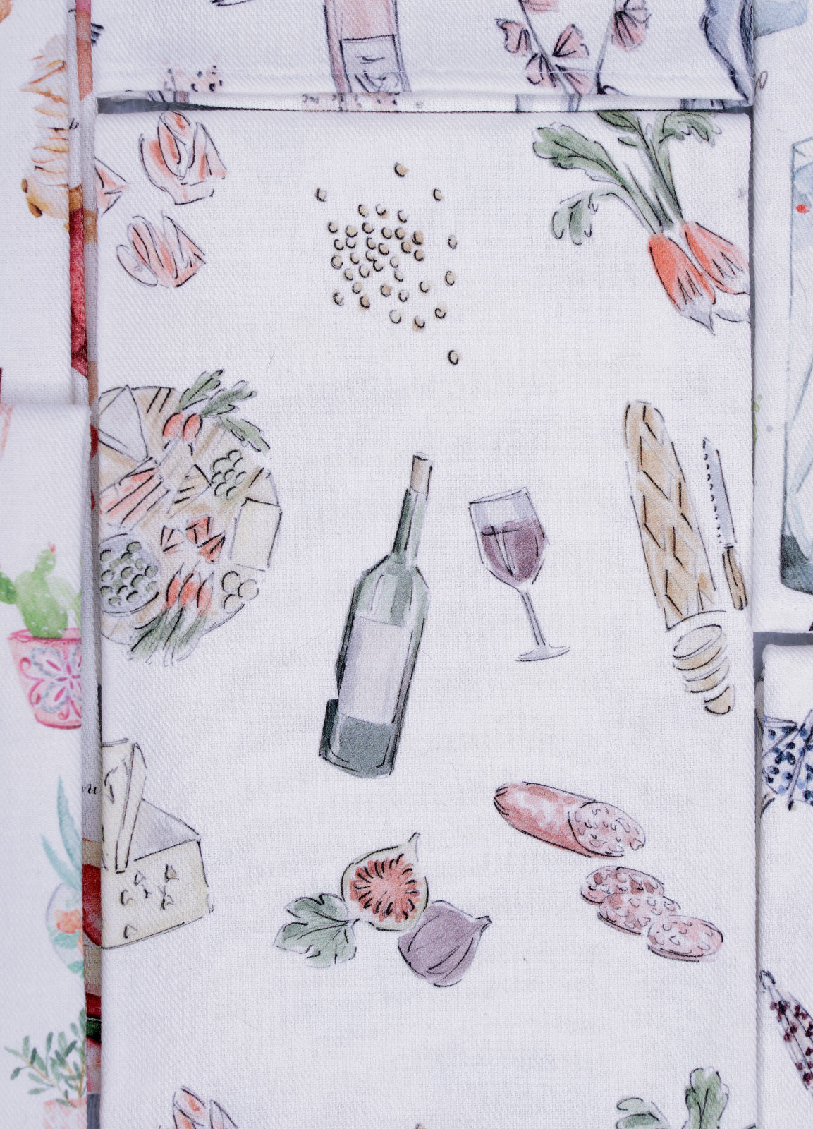 """Vin, fromage et charcuterie Wine, cheese and charcuterie"" - Linge de maison / Kitchen Linen"