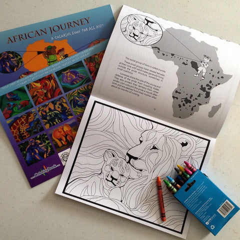 African Journey Coloring Book and crayons