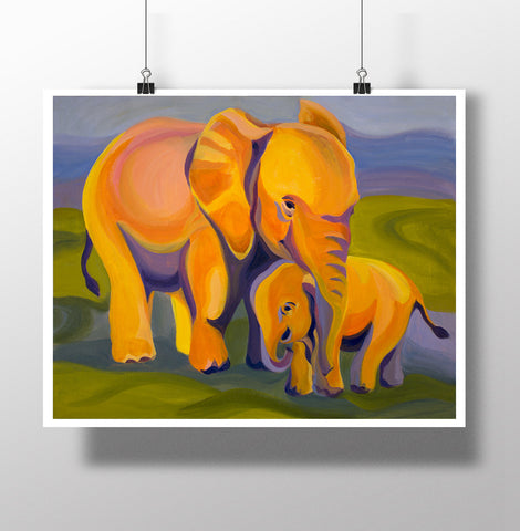 African Journey Elephants Poster