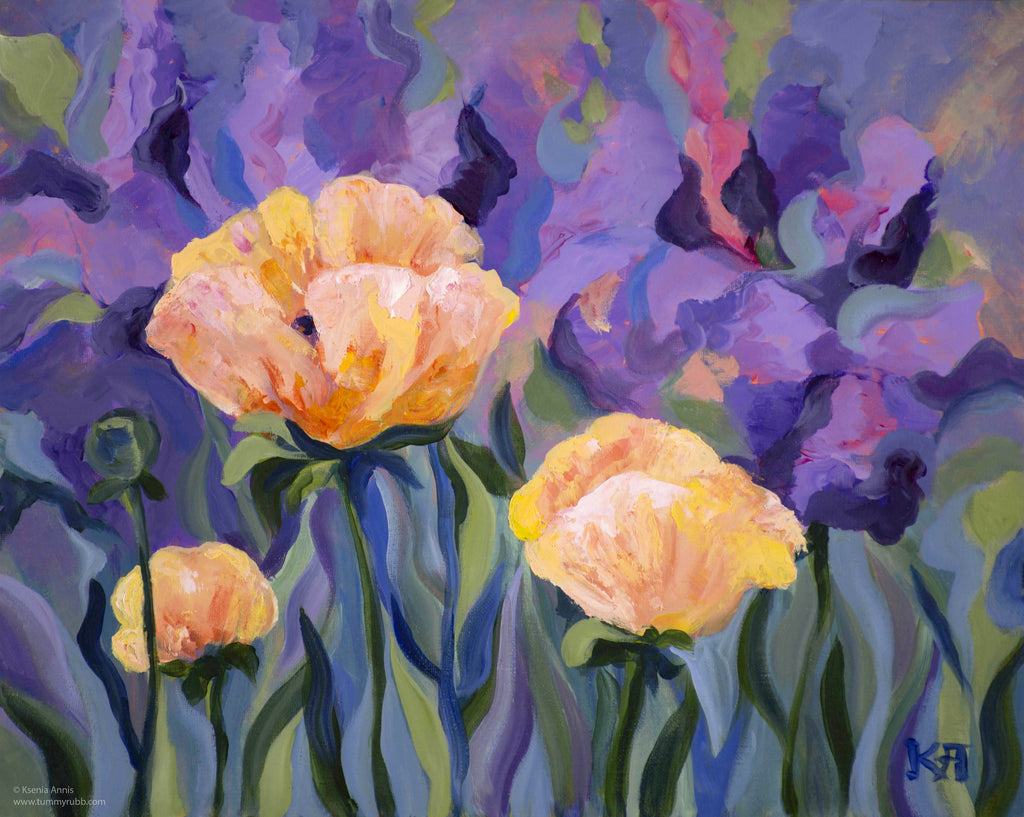 Poppies and Purple original painting/ giclee/ poster
