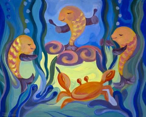 Fishy Sounds original painting/ giclee/ poster