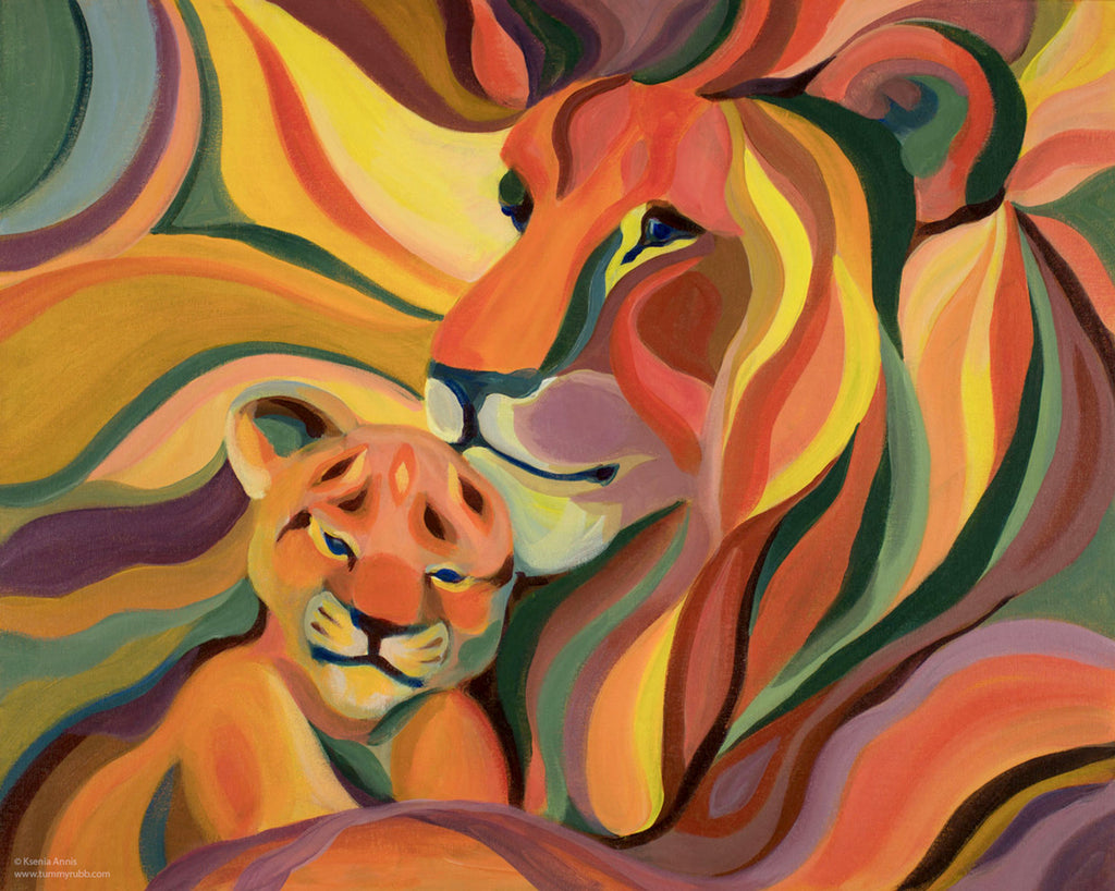 Lions original painting/ giclee/ poster