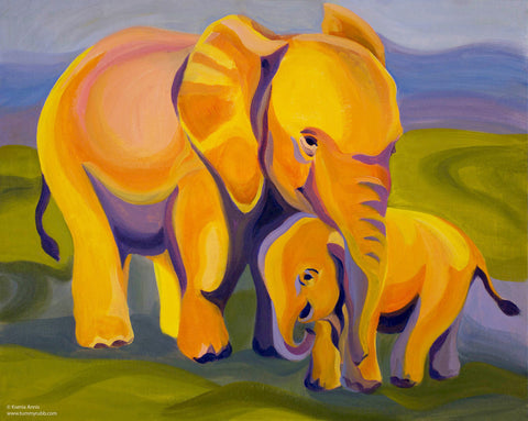 Elephants original painting/ giclee/ poster