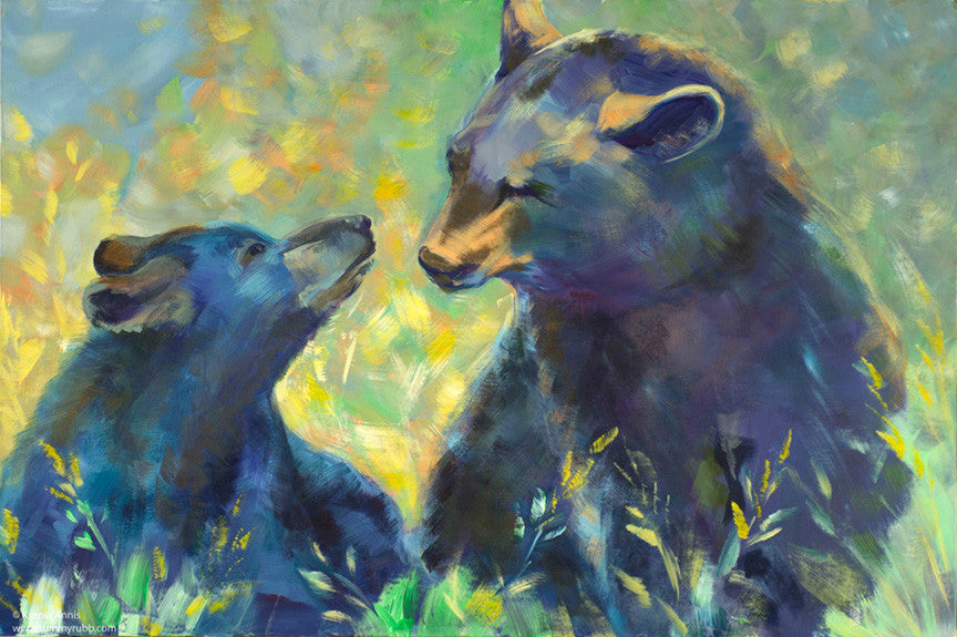 Mimicry: black bears original painting/ giclee/ poster