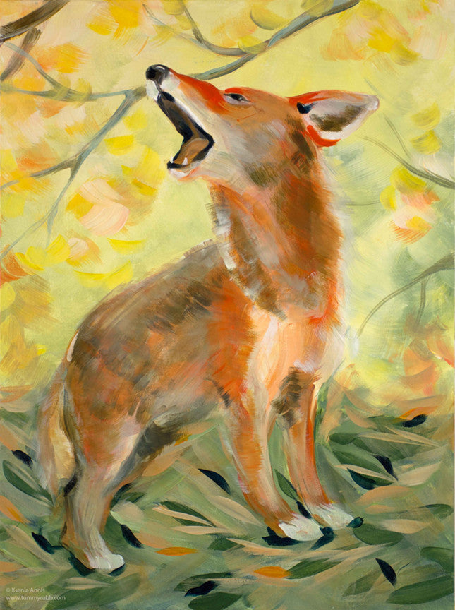Mimicry: Coyote Mom original painting/ giclee/ poster