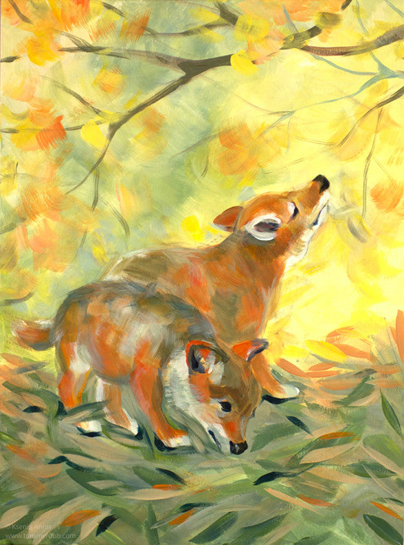 Mimicry: Coyote Pups original painting/ giclee/ poster