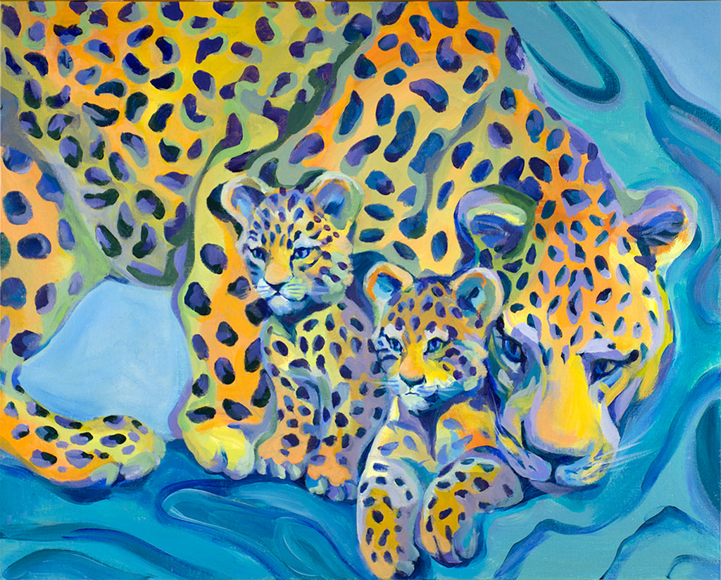 Leopards original painting/ giclee/ poster