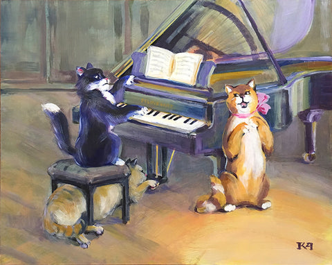 Cat Concert original painting/ poster
