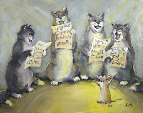 Cat Choir original painting/ poster