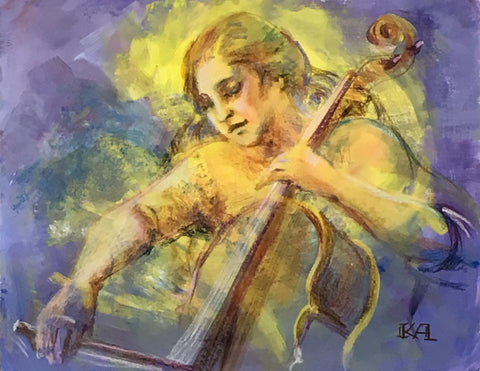 Classical Music - Cello original painting/ giclee/ poster