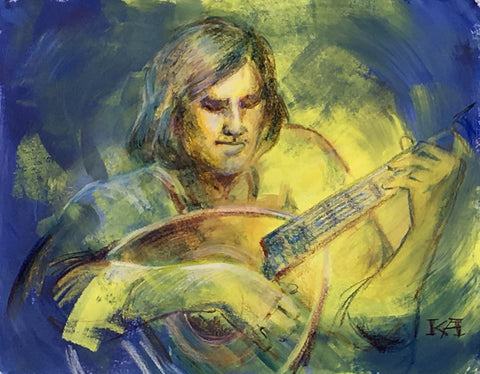 Classical Music - Lute original painting/ giclee/ poster