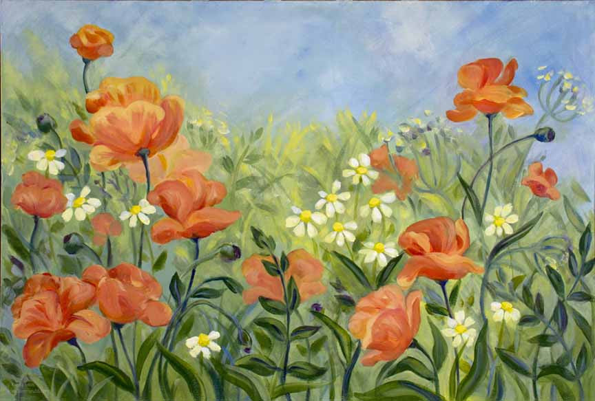 Glorious Poppies original painting/ giclee/ poster