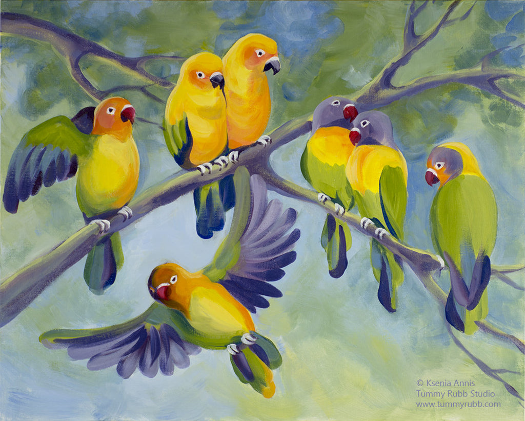 Lovebirds original art/ poster/ digital