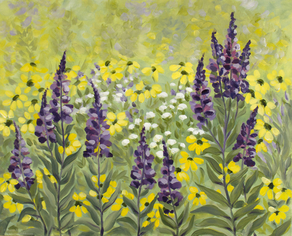 Purple Grass and Susans original painting/ giclee / poster
