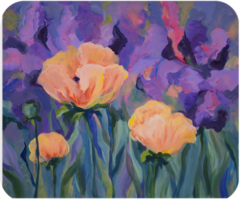 Poppies with Purple Mouse Pad