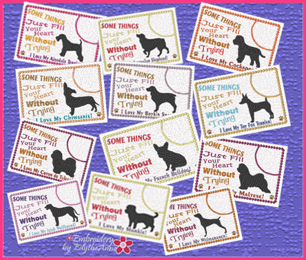 DOG BREEDS - In The Hoop Mug Mats/Mug Rugs