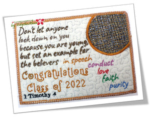 1 TIMOTHY GRADUATION  In The Hoop Embroidered Mug Mat/Mug Rug Design - DIGITAL DOWNLOAD