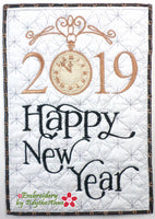 2019 HAPPY NEW YEAR In The Hoop Mug Mat/Mug Rug -DIGITAL DOWNLOAD