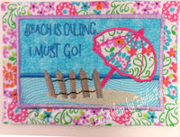 BEACH IS CALLING...I MUST GO - In The Hoop Embroidered Mug Mat/Mug Rug Design.- Digital Download