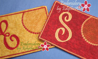 MONOGRAM MUG MATS VERSION 2 - Set of 26  In The Hoop Embroidered Mug Mat/Mug Rug. Instant Download