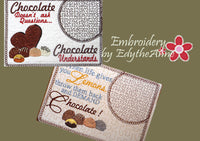 CHOCOLATE MUG MATS -Set of Two In The Hoop Mug Mats -Digital Download