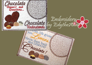 CHOCOLATE MUG MATS -Set of Two In The Hoop Mug Mats -Instant Download - Embroidery by EdytheAnne - 1