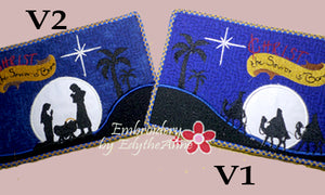 CHRIST THE SAVIOR IS BORN IN THE HOOP MUG MAT/Mug Rug Mug Set of Two Designs -  Instant Download. - Embroidery by EdytheAnne - 1