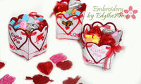VALENTINE BOXES 3 different filled the candy - Machine Embroidery Designs - In the hoop embroidery project - by EdytheAnne - 3