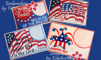 4 Piece Mug Mat Set of Patriotic In The Hoop - DIGITAL DOWNLOAD
