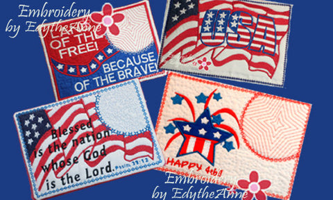 .July 4th In The Hoop Patriotic SET OF 4 MUG MAT SET- INSTANT DOWNLOAD - Embroidery by EdytheAnne - 1